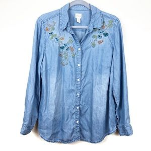 Chicos 2 Size 12 Chambray Flower Embroidered Shirt